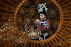 Miao Woman Weaving Bird Cage
